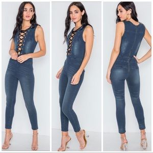 Pants - Denim Grommet Dark Blue Bondage Jumpsuit Medium